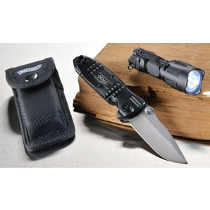 WALTHER SURVIVAL Set Special Edition. Набор выживальщика ( нож с чехлом + LED фонарик ) Silver Tac Knife and Pouch + RBL 500 Flashlight ( 2000100024898 )